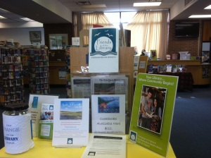 Community information at the entrance of the library